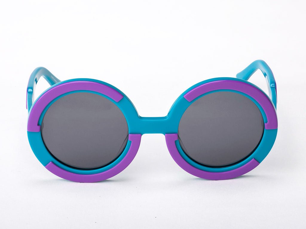 Sobo Sunglasses Light Blue and Purple Frame with Grey Lens