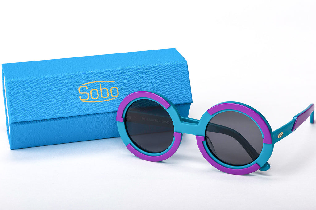 Sobo Sunglasses Light Blue and Purple Frame with Smoke Lens & Blue Case With Gold Logo