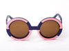 Sobo Sunglasses Navy Blue and Pink Frame with Brown Lens