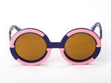 Sobo Sunglasses Navy Blue and Pink Frame with Mirror Gold Lens
