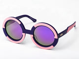 Sobo Sunglasses Navy Blue and Pink Frame and Mirror Gold Lenses