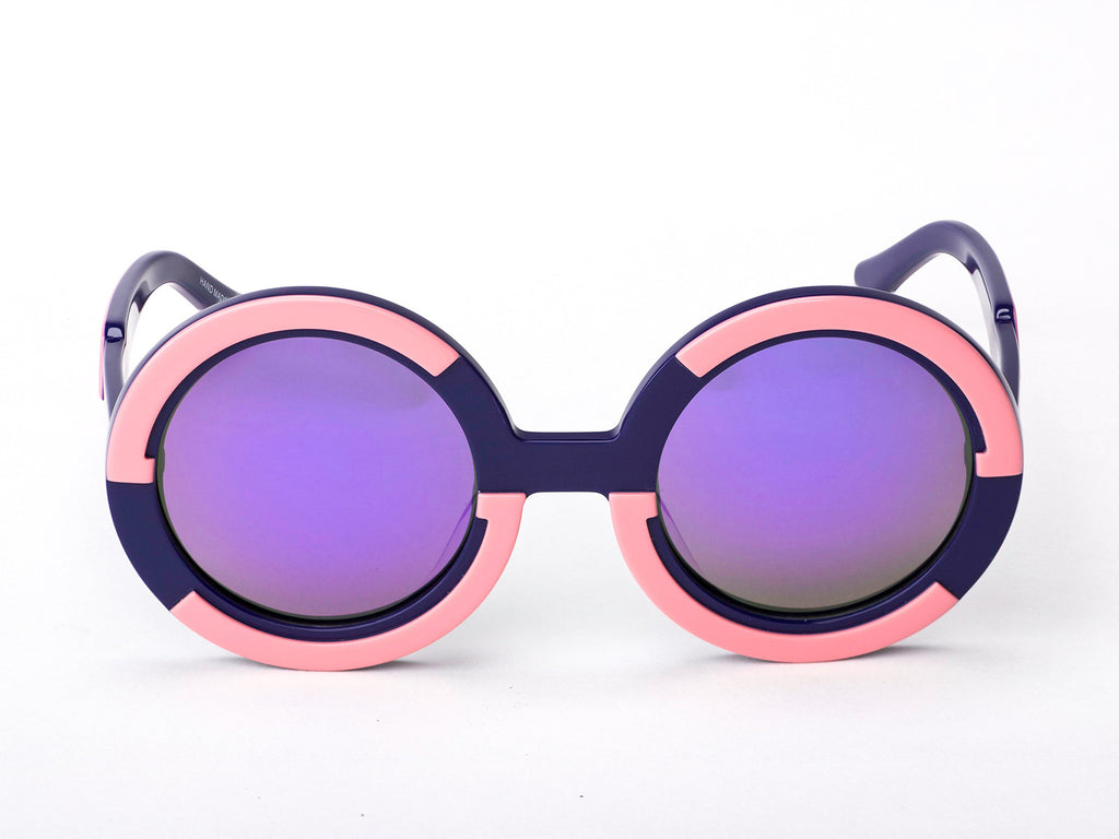 Sobo Sunglasses Navy Blue and Pink Frame with Purple Revo Lens