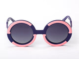 Sobo Sunglasses Navy Blue and Pink Frame with Smoke Gradient Lens