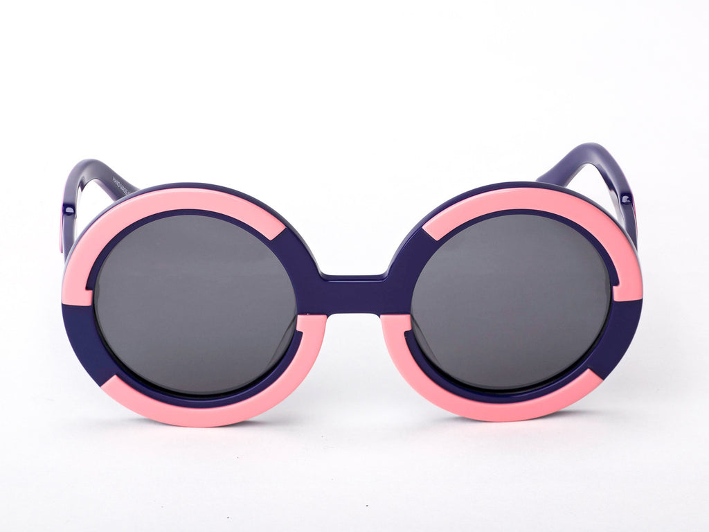 Sobo Sunglasses Navy Blue and Pink Frame with Smoke Lens