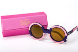 Sobo Sunglasses Navy Blue and Pink Frame with Mirror Gold Lens & Pink Case With Gold Logo