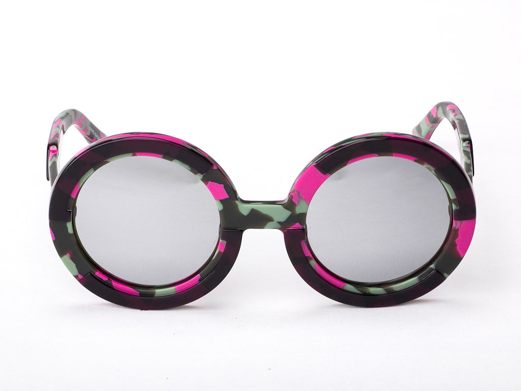 Sobo Sunglasses Pink Camo Frame With Mirror Silver Lens