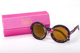 Sobo Sunglasses Pink Camo Frame with Mirror Gold Lens & Pink Case With Gold Logo