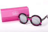 Sobo Sunglasses Pink Camo Frame With Mirror Silver Lens & Pink Case With Silver Logo