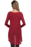 Hi-Lo Cut Long Sleeve Top - BURGUNDY