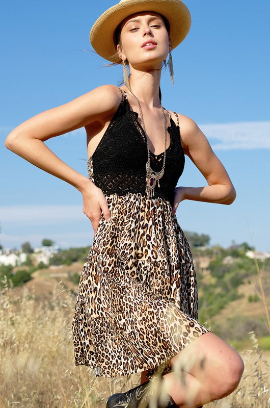Leopard Lace Mini Dress