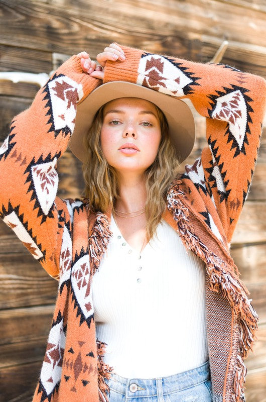 Tribal Fringe Cardigan - Rust