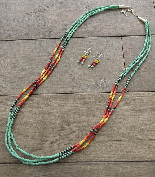 Layered Navajo Bead Necklace Set