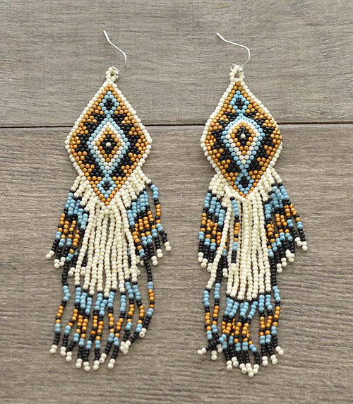 Aztec Seed Bead Tassel Earrings - Ivory