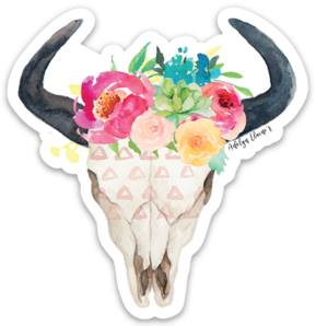 Spring Queen Bull Skull Sticker