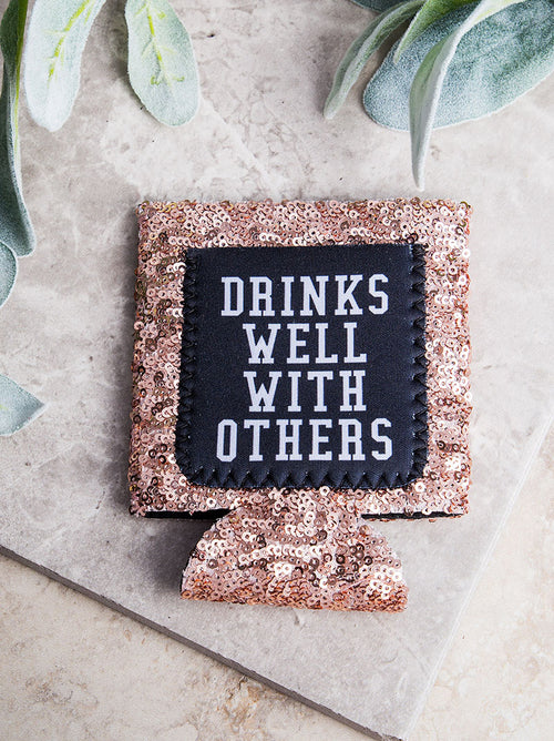 Drinks Well With Others Sequin Can Cooler