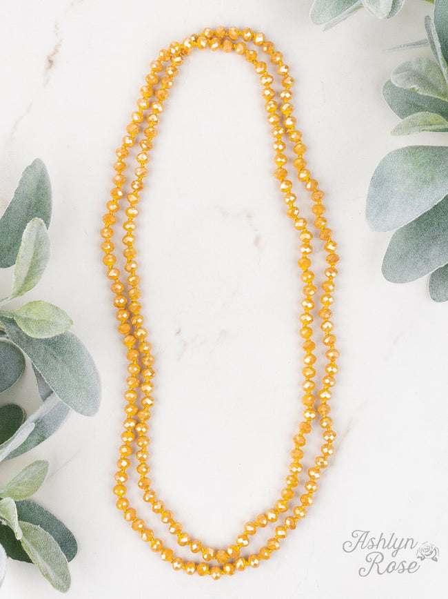 "60"" Bead Necklace - Mustard"