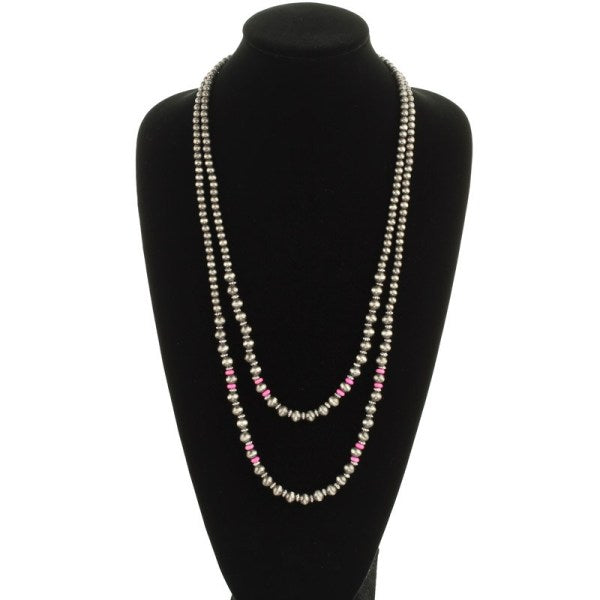 Layered Navajo Necklace - Pink