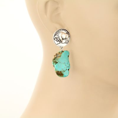 Buffalo Coin Turquoise Stone Post Earrings