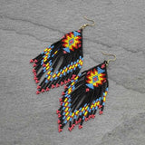 Aztec Pattern Seed Bead Earrings - Black