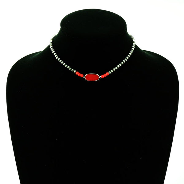 Navajo Stone Choker Necklace - Red