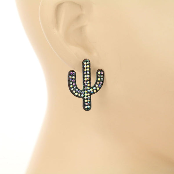 Rhinestone Cactus Trio Earrings Set - Patina