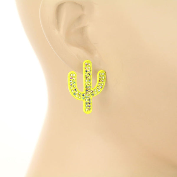 Rhinestone Cactus Trio Earrings Set - Neon Yellow