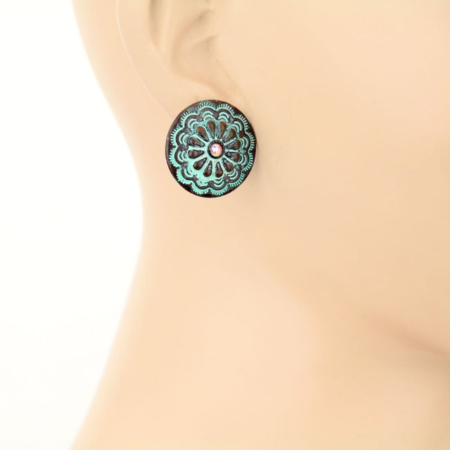 Rhinestone Concho Stud Earrings
