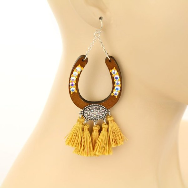 Rhinestone Horseshoe Tassel Earrings - Ivory