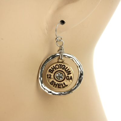 Locked & Loaded Shotgun Shell Earrings - Gold