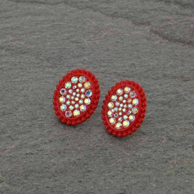 Red Rhinestone Stud Earrings
