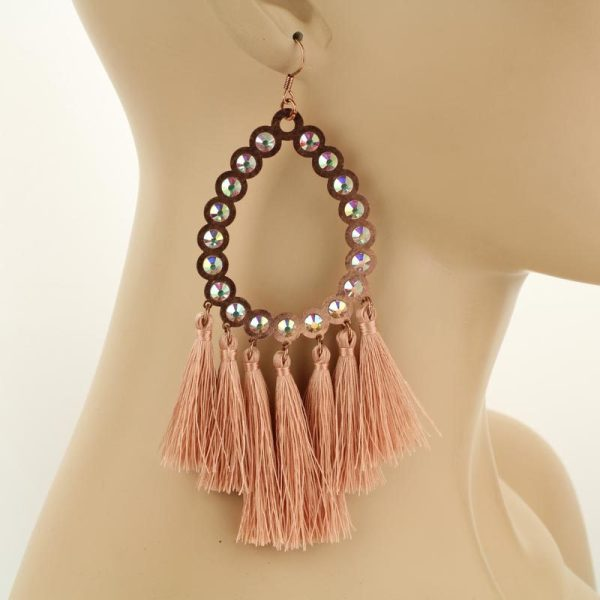 Large Tassel Rhinestone Teardrop Earrings -Rose Gold
