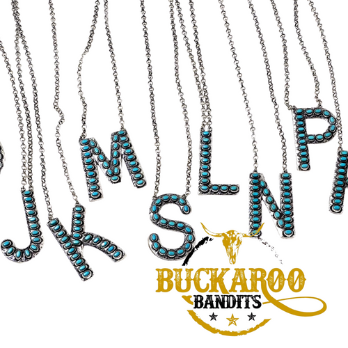 Turquoise Initial Necklace Set