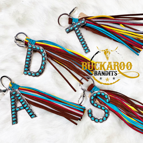 Turquoise Initial Tassel Keychain