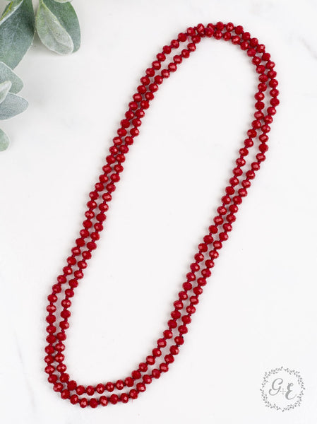 "60"" Bead Necklace - Lipstick Red"
