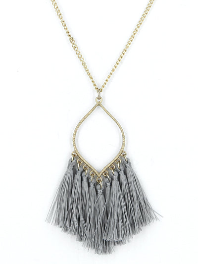 Tassel Necklace - Grey
