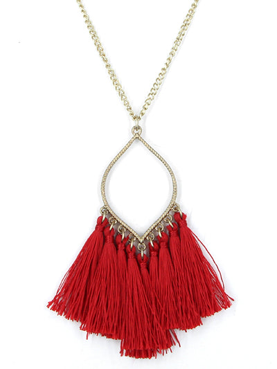 Tassel Necklace - Red