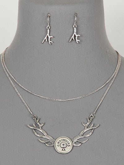 Antler & Bullet Necklace Set - Cowboys & Angels