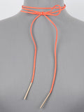 LONG ORANGE SUEDE NECKLACE