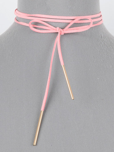 LONG PINK SUEDE NECKLACE