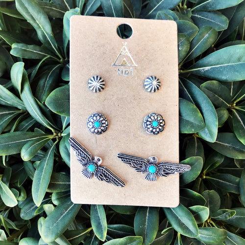Thunderbird Western Earring Trio Set