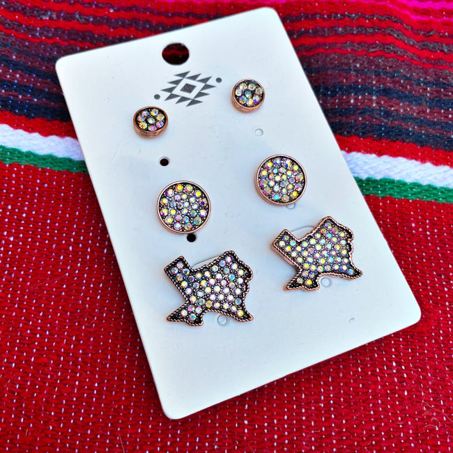 Texas Babe Earring Trio Set - Copper