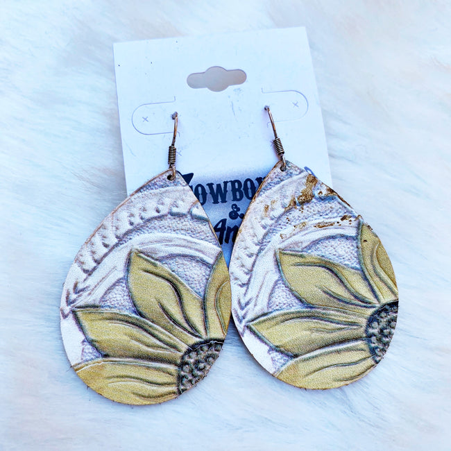 Leather Sunflower Earrings - White