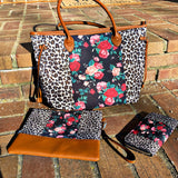 Floral Leopard Handbag 3 Piece Set