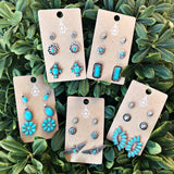 Turquoise Bar Earring Trio Set