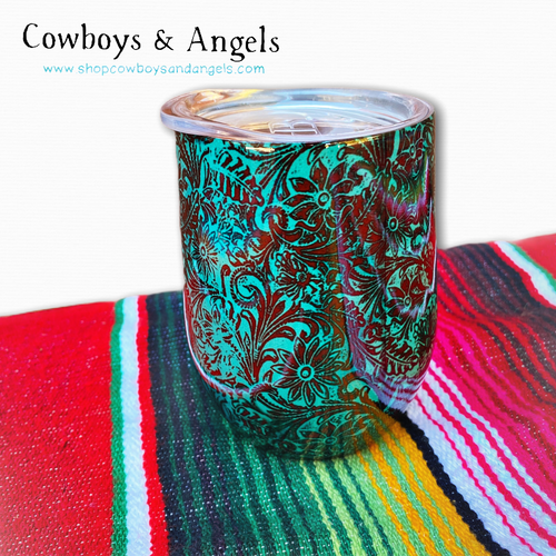 Turquoise Tooled Patina Tumbler