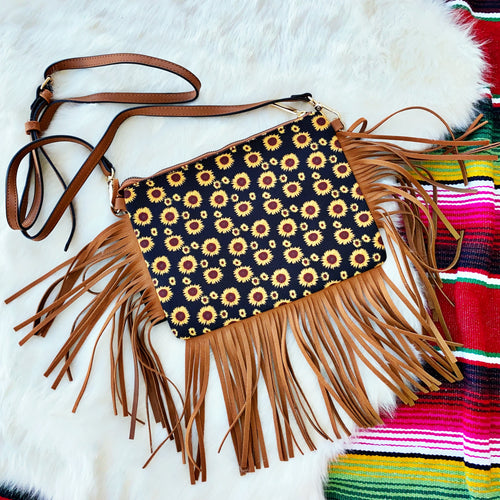 Sunflower Fringe Crossbody