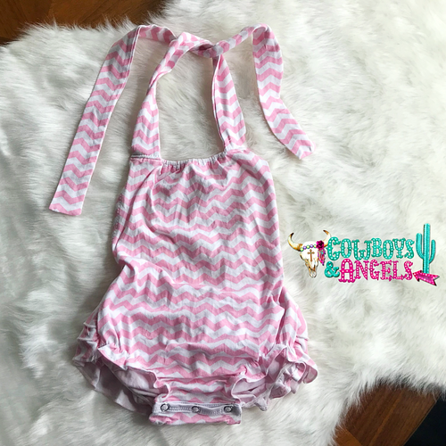 Chevron Ruffle Infant Romper - Pink