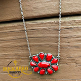 Coral Red Cluster Necklace