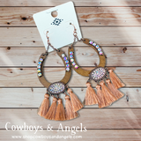 Rhinestone Horseshoe Tassel Earrings - Rose Gold