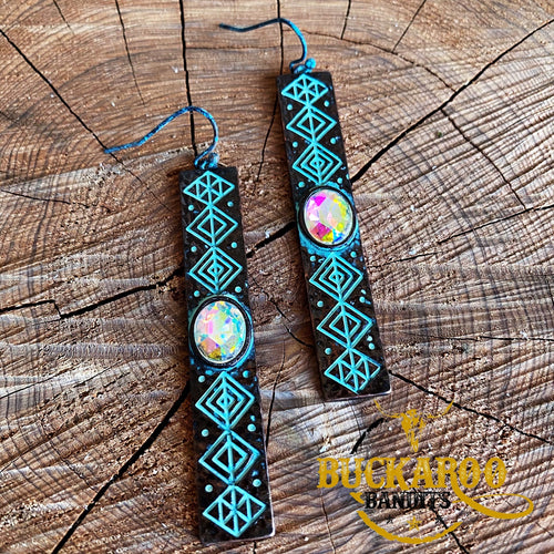 Tribal Rhinestone Bar Earrings